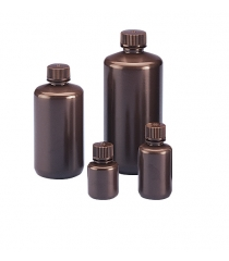 Amber narrow mouth round bottle, HDPE