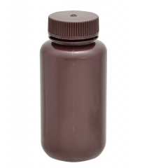Amber wide mouth round bottle, HDPE