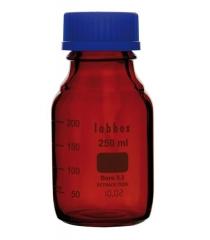 Laboratory bottle with ISO thread, graduated, borosilicate 3.3, amber