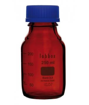 Flacon gradué ISO en verre borosilicaté 3.3 ambré