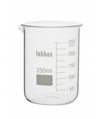 Thick-walled beaker, low form with double capacity scale